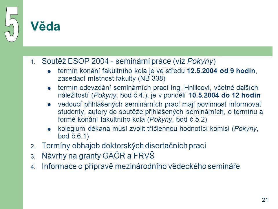 21 Věda 1. Soutěž ESOP 2004 - seminární práce (viz Pokyny) termín konání fakultního kola je ve středu 12.5.2004 od 9 hodin, zasedací místnost fakulty