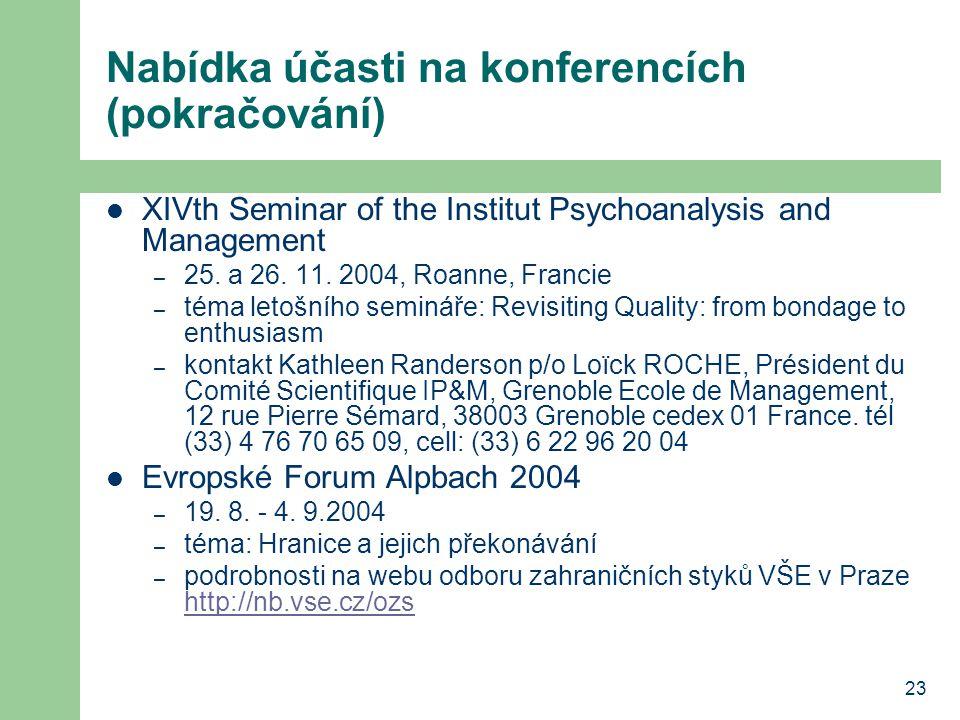 23 Nabídka účasti na konferencích (pokračování) XIVth Seminar of the Institut Psychoanalysis and Management – 25. a 26. 11. 2004, Roanne, Francie – té
