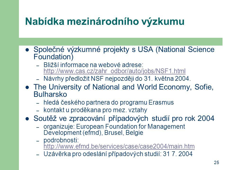 25 Nabídka mezinárodního výzkumu Společné výzkumné projekty s USA (National Science Foundation) – Bližší informace na webové adrese: http://www.cas.cz