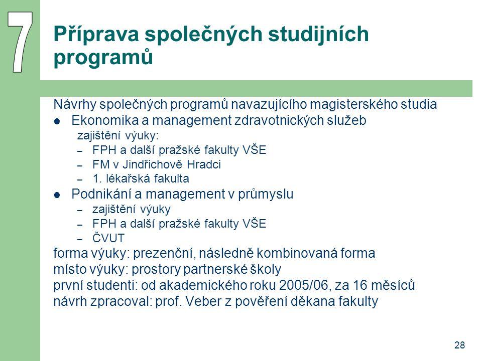 28 Příprava společných studijních programů Návrhy společných programů navazujícího magisterského studia Ekonomika a management zdravotnických služeb z