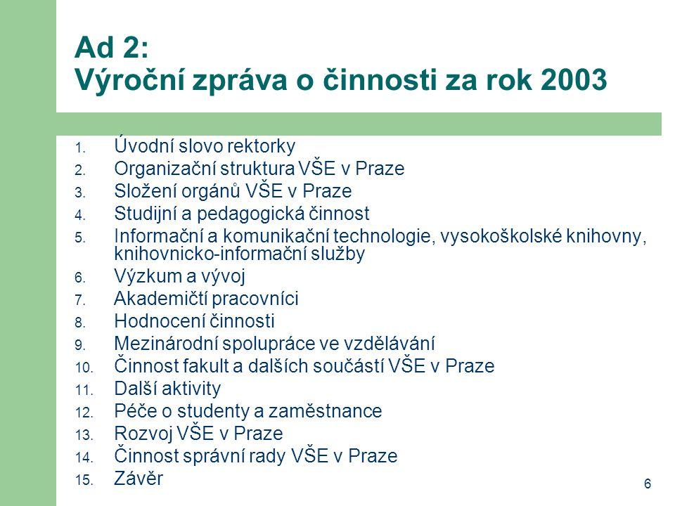 7 Ad 3: Návrh hospodaření VŠE v roce 2004 z podrobné bilance nákladů a výnosů vyplynula nezbytnost navýšit zdroje o 3 mil.