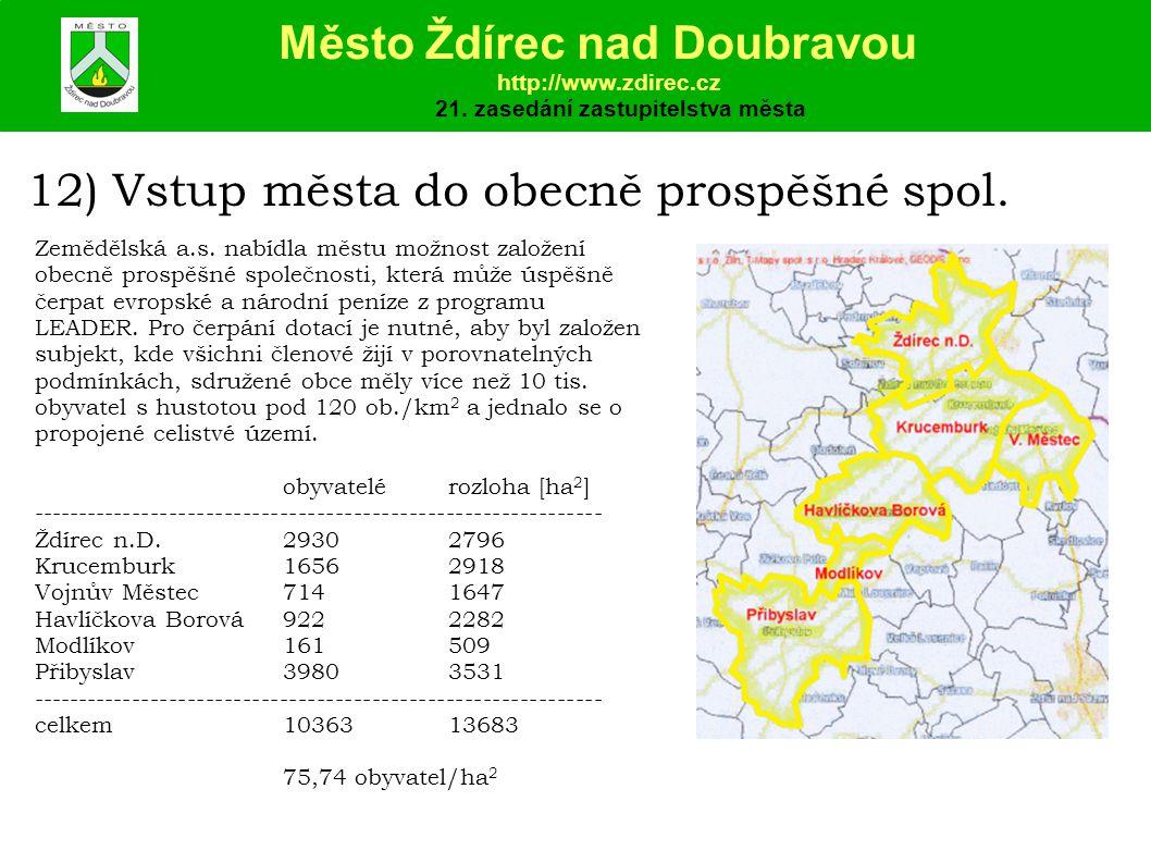 12) Vstup města do obecně prospěšné spol.Zemědělská a.s.