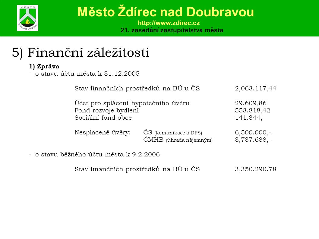 5) Finanční záležitosti 1) Zpráva - o stavu účtů města k 31.12.2005 Stav finančních prostředků na BÚ u ČS2,063.117,44 Účet pro splácení hypotečního úvěru29.609,86 Fond rozvoje bydlení553.818,42 Sociální fond obce141.844,- Nesplacené úvěry:ČS (komunikace a DPS) 6,500.000,- ČMHB (úhrada nájemným) 3,737.688,- - o stavu běžného účtu města k 9.2.2006 Stav finančních prostředků na BÚ u ČS3,350.290.78 Město Ždírec nad Doubravou http://www.zdirec.cz 21.