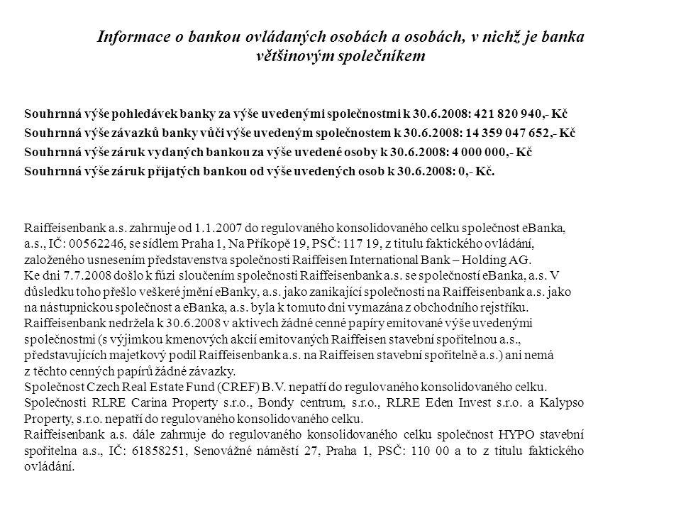 Raiffeisenbank a.s. zahrnuje od 1.1.2007 do regulovaného konsolidovaného celku společnost eBanka, a.s., IČ: 00562246, se sídlem Praha 1, Na Příkopě 19
