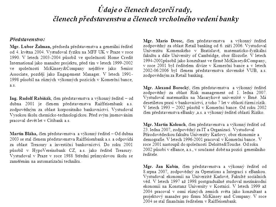 Údaje o členech dozorčí rady, členech představenstva a členech vrcholného vedení banky Představenstvo: Mgr. Lubor Žalman, předseda představenstva a ge