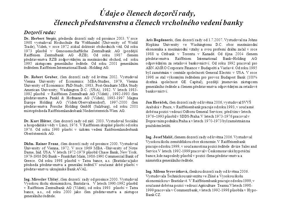 Údaje o členech dozorčí rady, členech představenstva a členech vrcholného vedení banky Dozorčí rada: Dr. Herbert Stepic, předseda dozorčí rady od pros