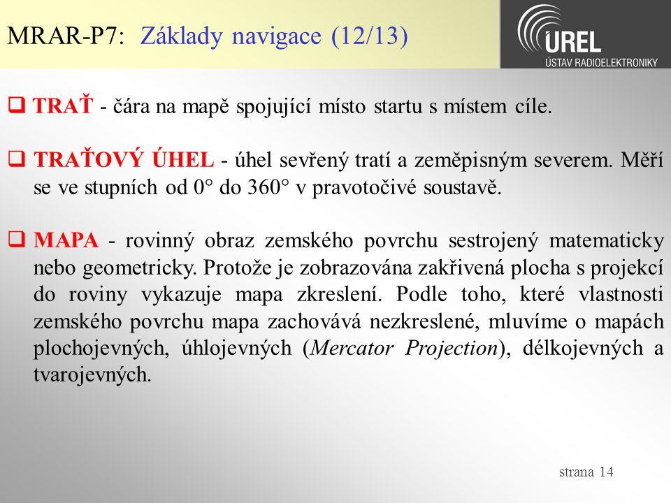 strana 14 MRAR-P7: Základy navigace (12/13)  TRAŤ - čára na mapě spojující místo startu s místem cíle.  TRAŤOVÝ ÚHEL - úhel sevřený tratí a zeměpisn