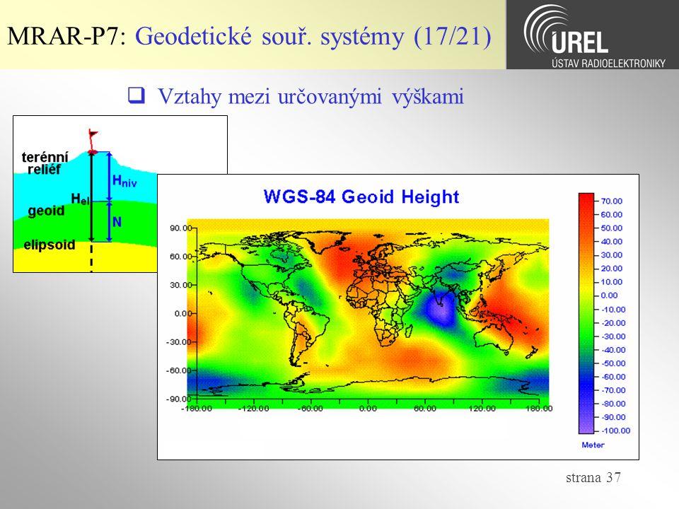 strana 37 MRAR-P7: Geodetické souř. systémy (17/21)  Vztahy mezi určovanými výškami