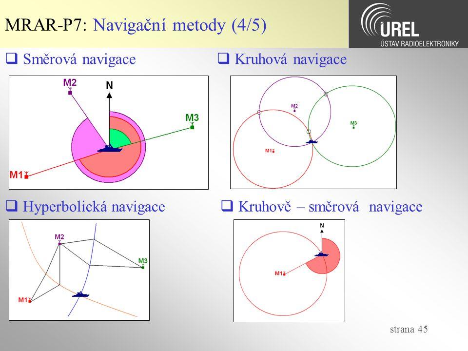 strana 45 MRAR-P7: Navigační metody (4/5)  Směrová navigace  Kruhová navigace  Hyperbolická navigace  Kruhově – směrová navigace