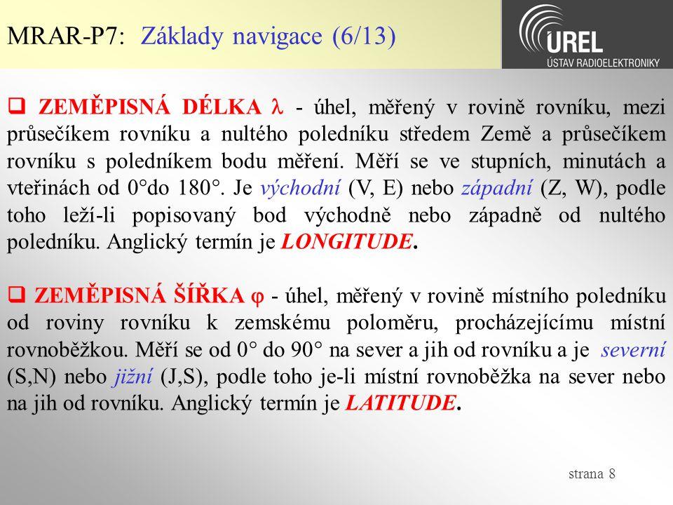 strana 9 MRAR-P7: Základy navigace (7/13)  Grafický popis základních pojmů navigace