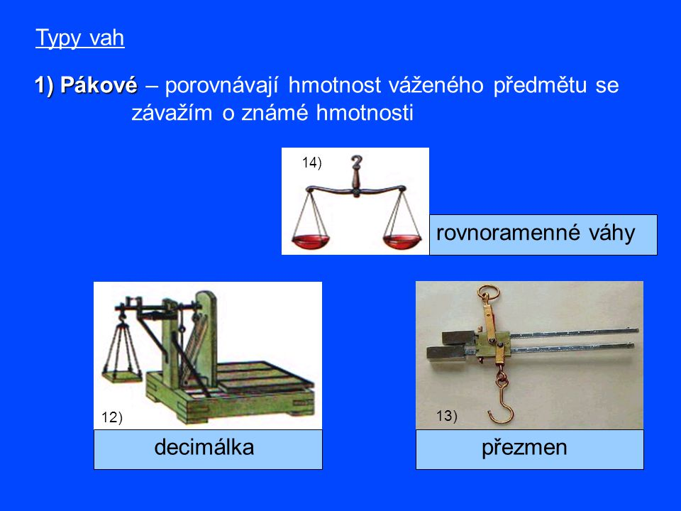 Typy vah 1) Pákové 1) Pákové – porovnávají hmotnost váženého předmětu se závažím o známé hmotnosti 12) decimálkapřezmen 13) 14) rovnoramenné váhy