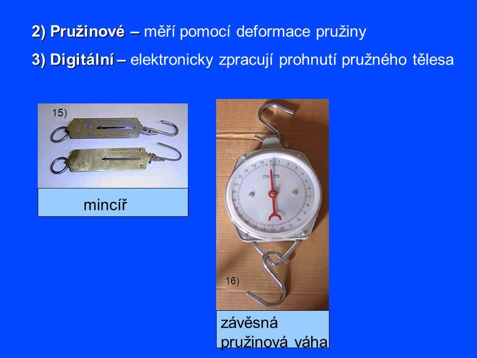 2) Pružinové – 2) Pružinové – měří pomocí deformace pružiny 3) Digitální – 3) Digitální – elektronicky zpracují prohnutí pružného tělesa mincíř 15) zá