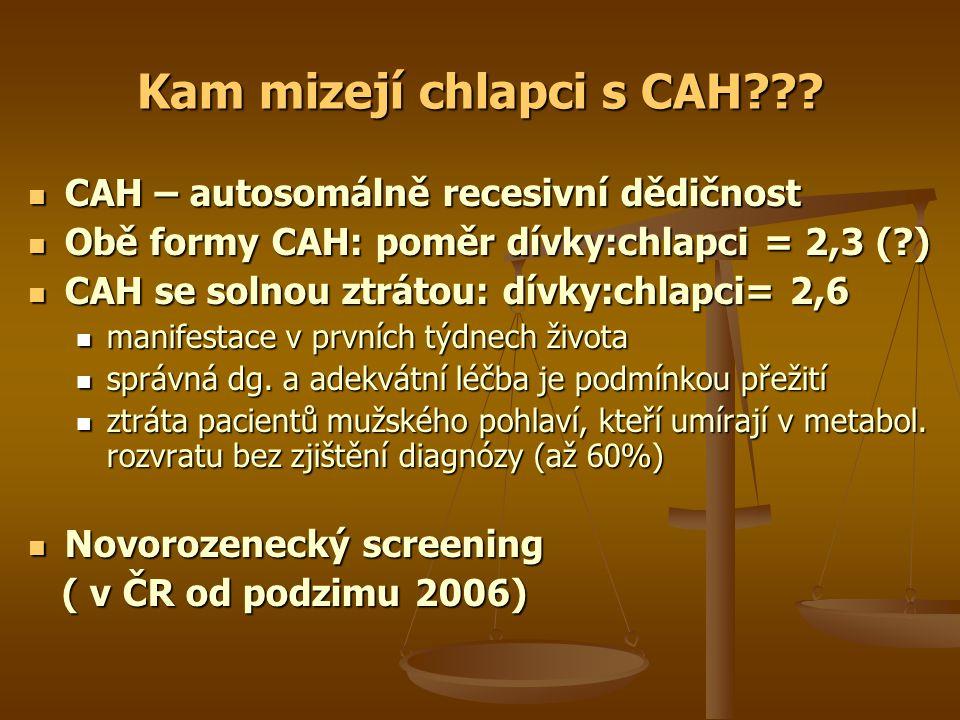 Kam mizejí chlapci s CAH??? CAH – autosomálně recesivní dědičnost CAH – autosomálně recesivní dědičnost Obě formy CAH: poměr dívky:chlapci = 2,3 (?) O