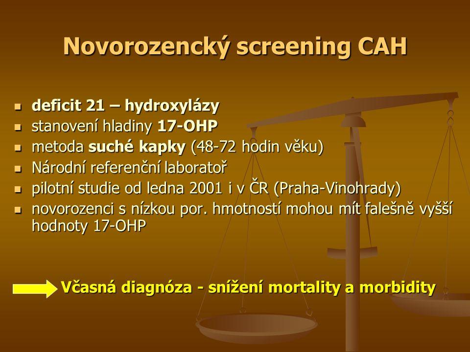 Novorozencký screening CAH deficit 21 – hydroxylázy deficit 21 – hydroxylázy stanovení hladiny 17-OHP stanovení hladiny 17-OHP metoda suché kapky (48-