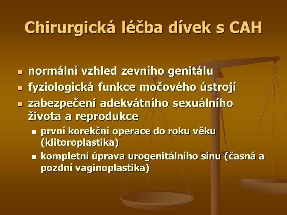Chirurgická léčba dívek s CAH normální vzhled zevního genitálu normální vzhled zevního genitálu fyziologická funkce močového ústrojí fyziologická funkce močového ústrojí zabezpečení adekvátního sexuálního života a reprodukce zabezpečení adekvátního sexuálního života a reprodukce první korekční operace do roku věku (klitoroplastika) první korekční operace do roku věku (klitoroplastika) kompletní úprava urogenitálního sinu (časná a pozdní vaginoplastika) kompletní úprava urogenitálního sinu (časná a pozdní vaginoplastika)