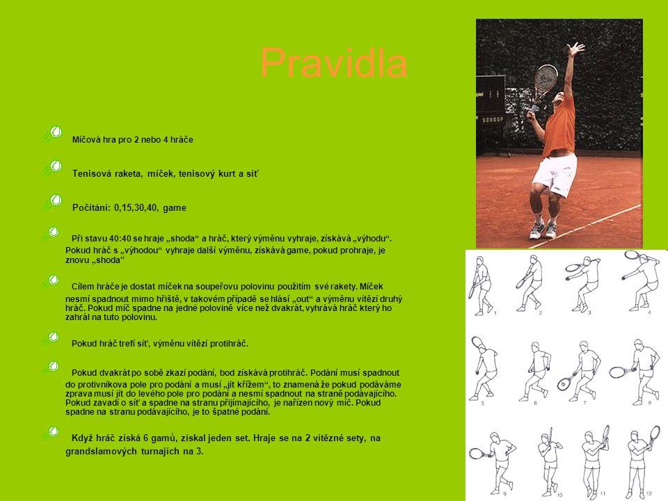 """Pravidla Míčová hra pro 2 nebo 4 hráče Tenisová raketa, míček, tenisový kurt a síť Počítání: 0,15,30,40, game Při stavu 40:40 se hraje """"shoda a hráč, který výměnu vyhraje, získává """"výhodu ."""