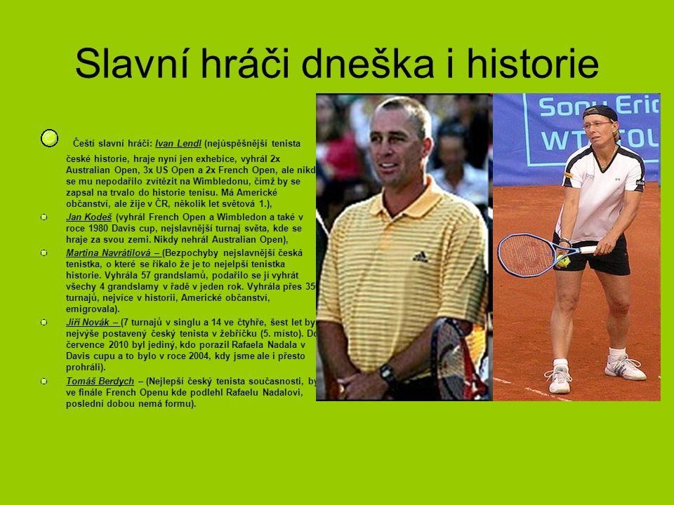 Slavní hráči dneška i historie Čeští slavní hráči: Ivan Lendl (nejúspěšnější tenista české historie, hraje nyní jen exhebice, vyhrál 2x Australian Open, 3x US Open a 2x French Open, ale nikdy se mu nepodařilo zvítězit na Wimbledonu, čímž by se zapsal na trvalo do historie tenisu.