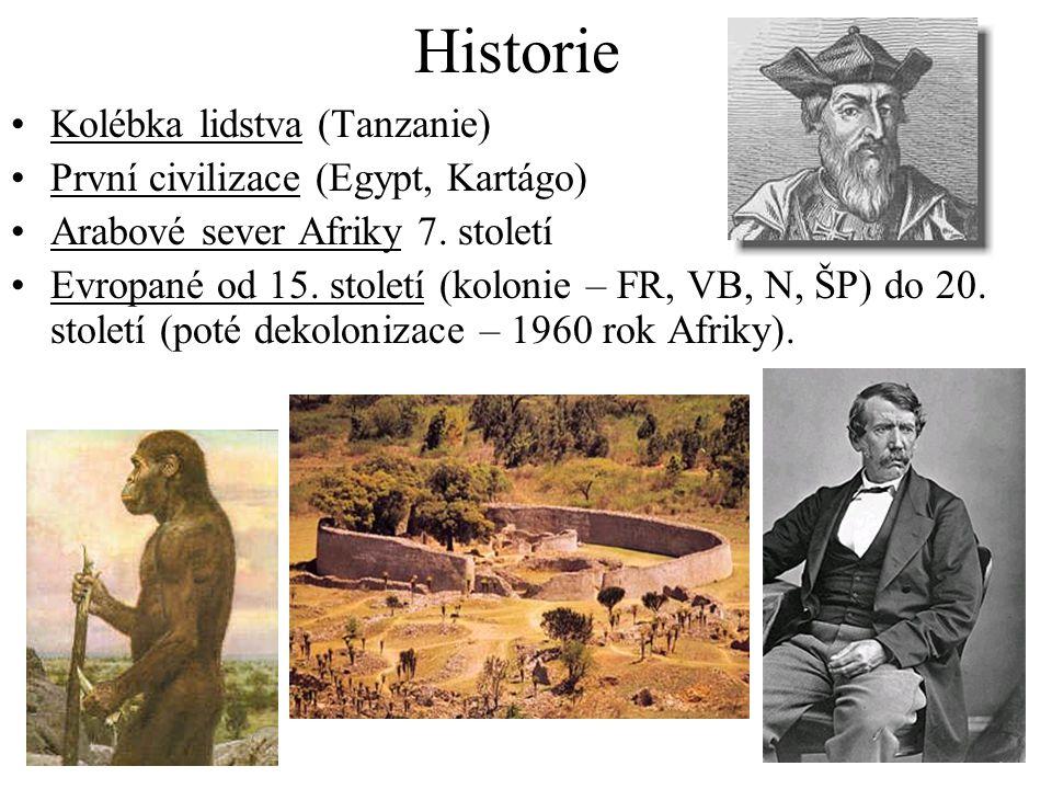 Historie Kolébka lidstva (Tanzanie) První civilizace (Egypt, Kartágo) Arabové sever Afriky 7. století Evropané od 15. století (kolonie – FR, VB, N, ŠP