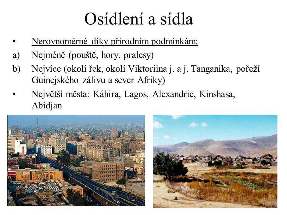 Osídlení a sídla Nerovnoměrné díky přírodním podmínkám: a)Nejméně (pouště, hory, pralesy) b)Nejvíce (okolí řek, okolí Viktoriina j. a j. Tanganika, po