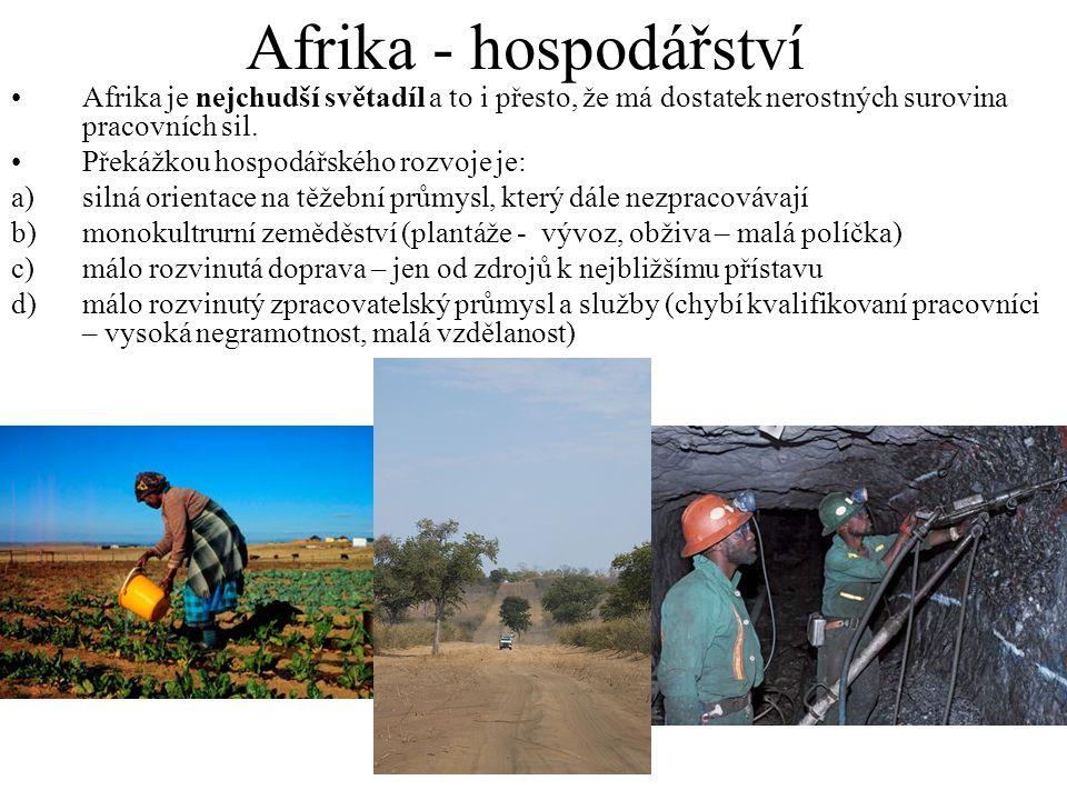 Afrika - hospodářství Afrika je nejchudší světadíl a to i přesto, že má dostatek nerostných surovina pracovních sil. Překážkou hospodářského rozvoje j