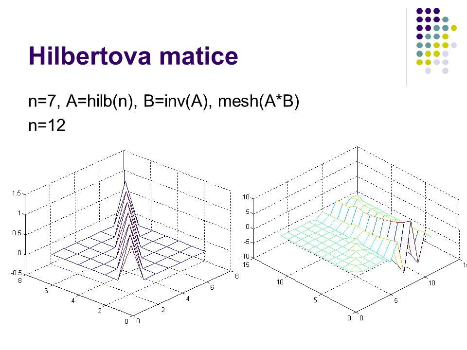 n=7, A=hilb(n), B=inv(A), mesh(A*B) n=12 Hilbertova matice