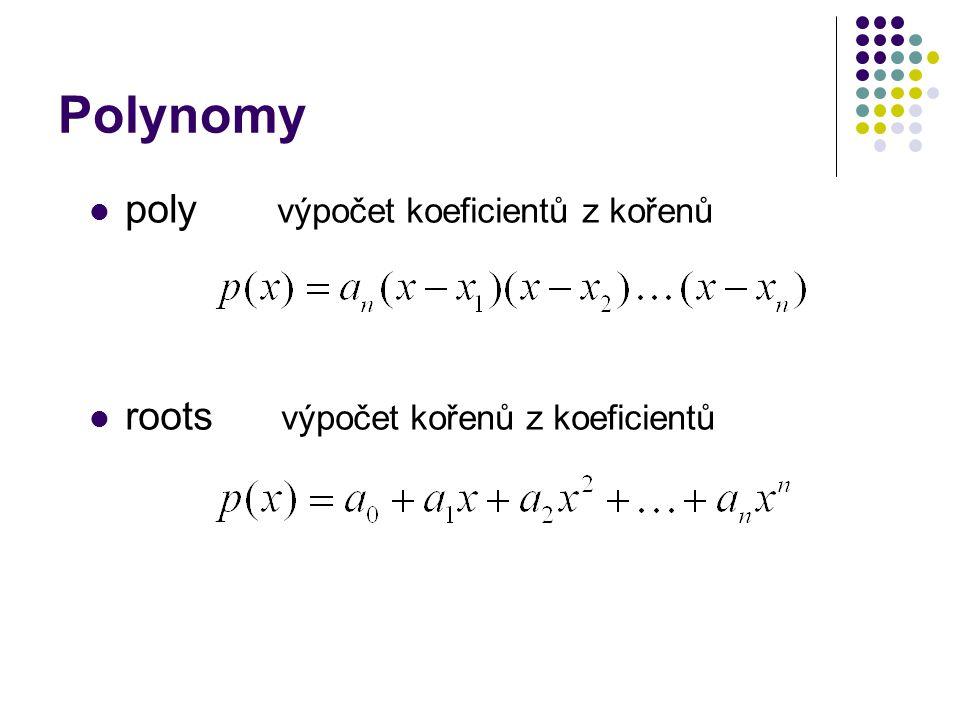 Polynomy poly výpočet koeficientů z kořenů roots výpočet kořenů z koeficientů
