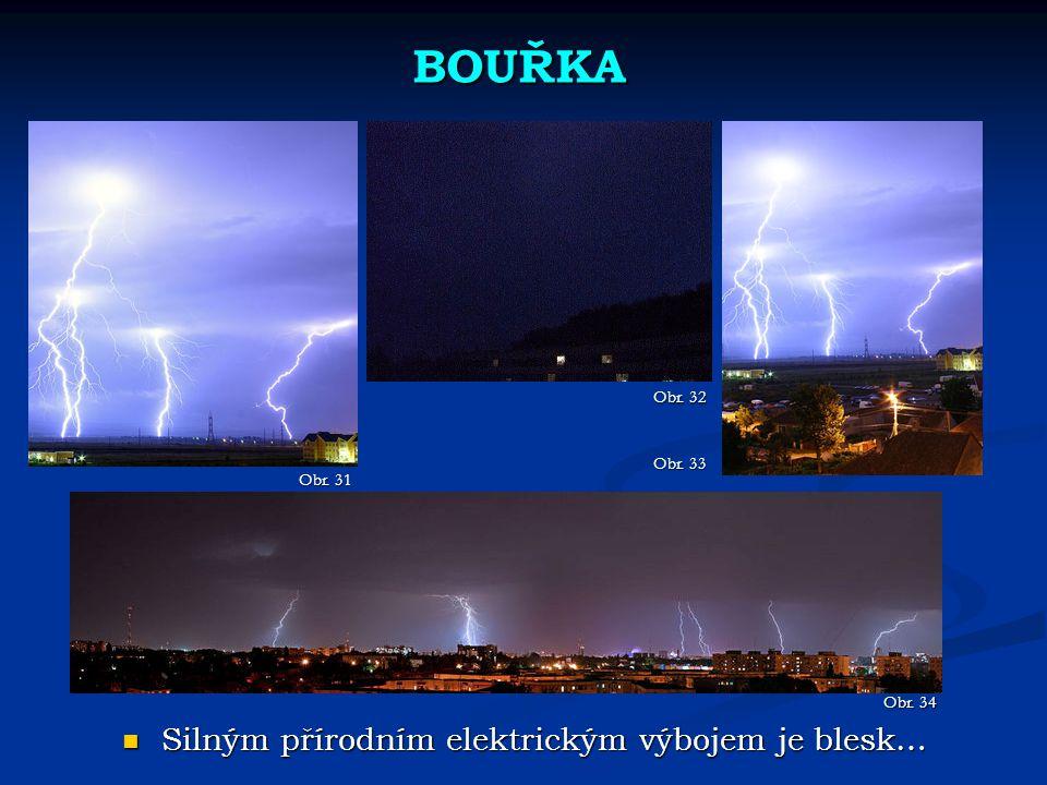 BOUŘKA Obr. 31 Obr. 32 Silným přírodním elektrickým výbojem je blesk… Silným přírodním elektrickým výbojem je blesk… Obr. 33 Obr. 34
