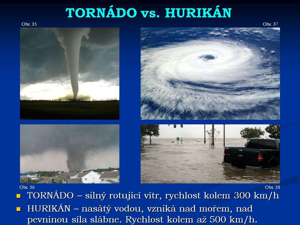 TORNÁDO vs. HURIKÁN Obr. 35 Obr. 36 TORNÁDO – silný rotující vítr, rychlost kolem 300 km/h TORNÁDO – silný rotující vítr, rychlost kolem 300 km/h HURI