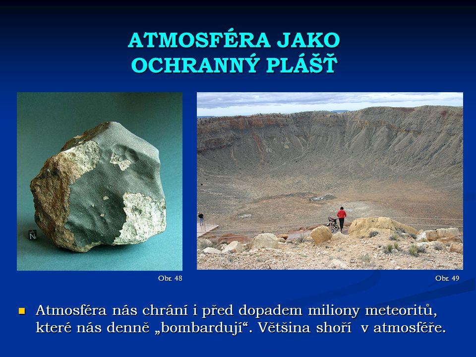 """ATMOSFÉRA JAKO OCHRANNÝ PLÁŠŤ Obr. 48 Atmosféra nás chrání i před dopadem miliony meteoritů, které nás denně """"bombardují"""". Většina shoří v atmosféře."""