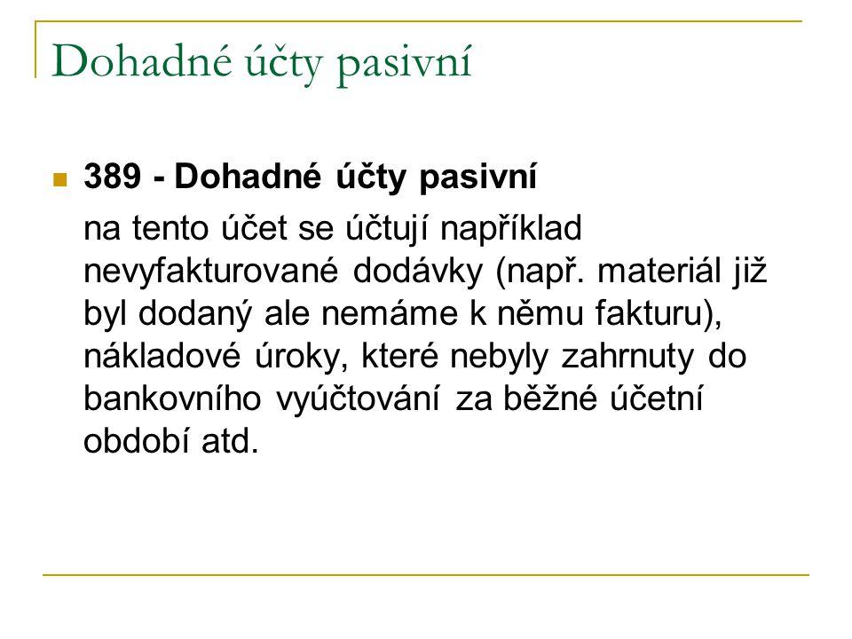 Dohadné účty pasivní 389 - Dohadné účty pasivní na tento účet se účtují například nevyfakturované dodávky (např.
