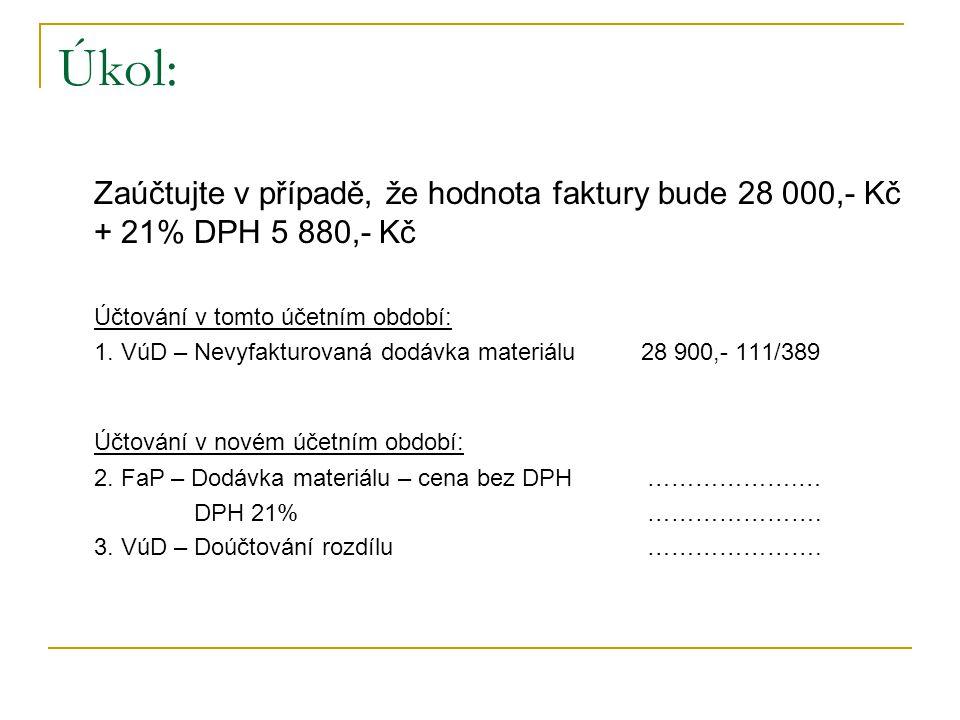 Úkol: Zaúčtujte v případě, že hodnota faktury bude 28 000,- Kč + 21% DPH 5 880,- Kč Účtování v tomto účetním období: 1.