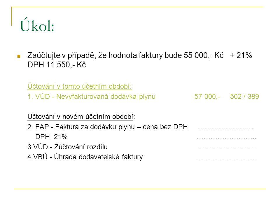 Úkol: Zaúčtujte v případě, že hodnota faktury bude 55 000,- Kč + 21% DPH 11 550,- Kč Účtování v tomto účetním období: 1.