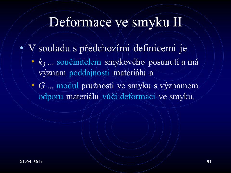 21.04. 201451 Deformace ve smyku II V souladu s předchozími definicemi je k 3...