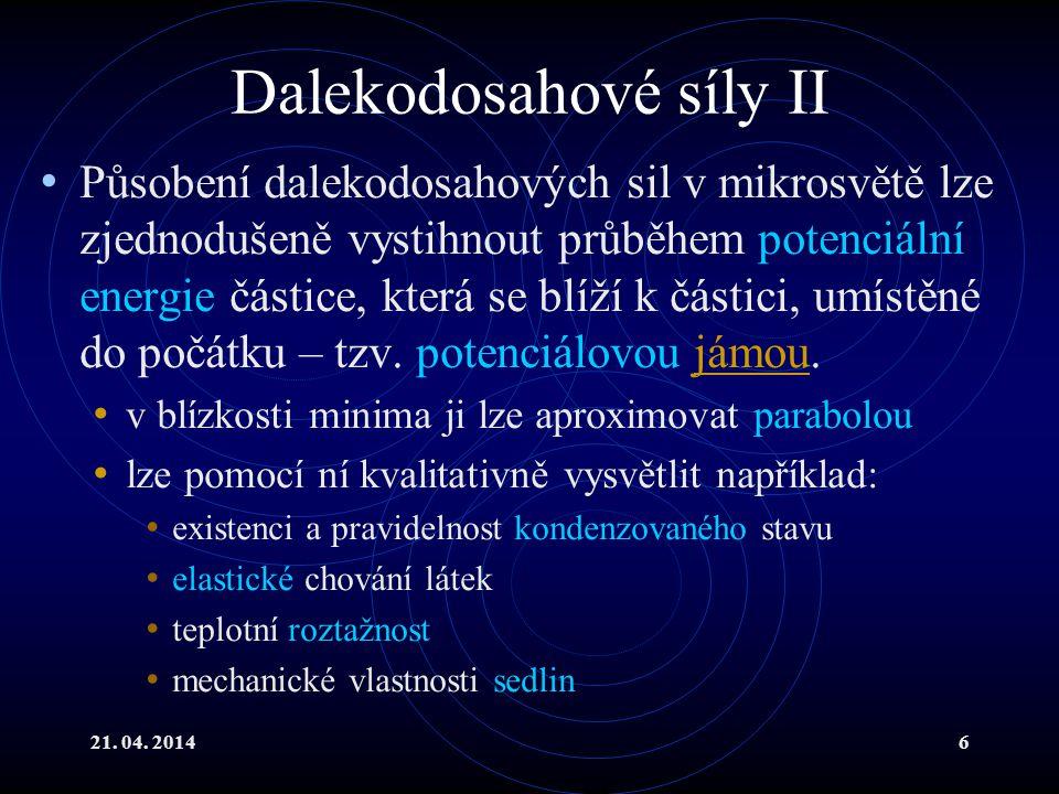 21.04. 20147 *Dalekodosahové síly III Vzájemné působení molekul se modeluje např.