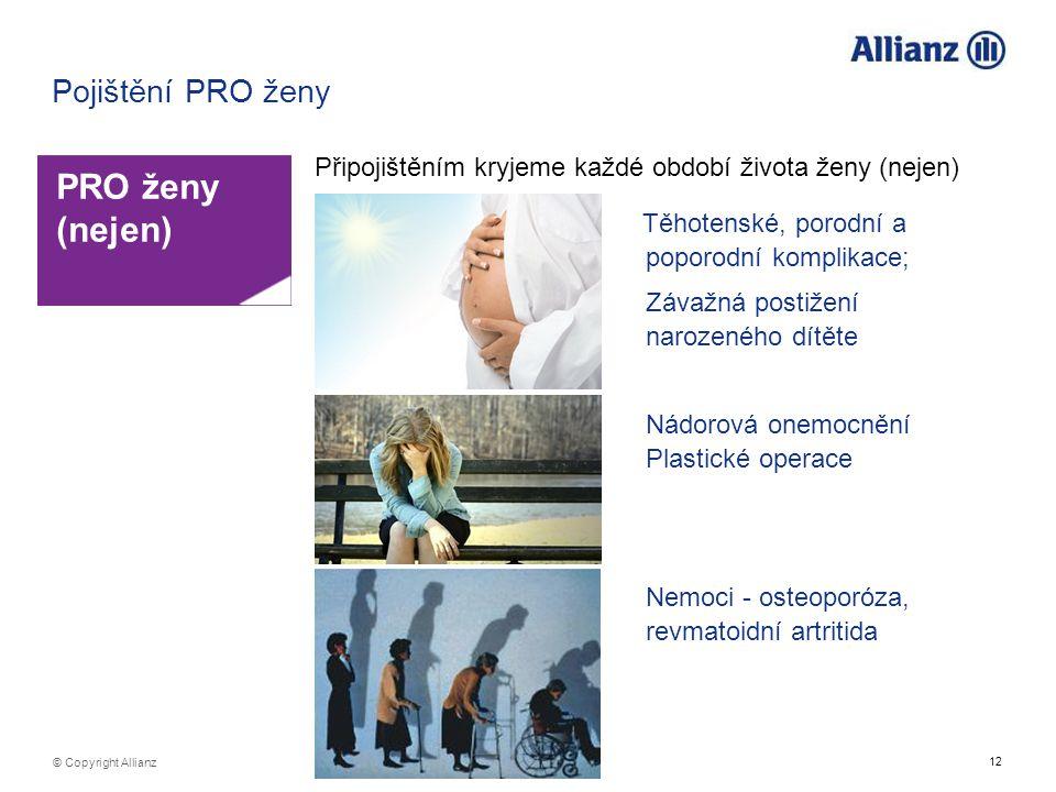 12 © Copyright Allianz Pojištění PRO ženy Připojištěním kryjeme každé období života ženy (nejen) PRO ženy (nejen) Těhotenské, porodní a poporodní komp