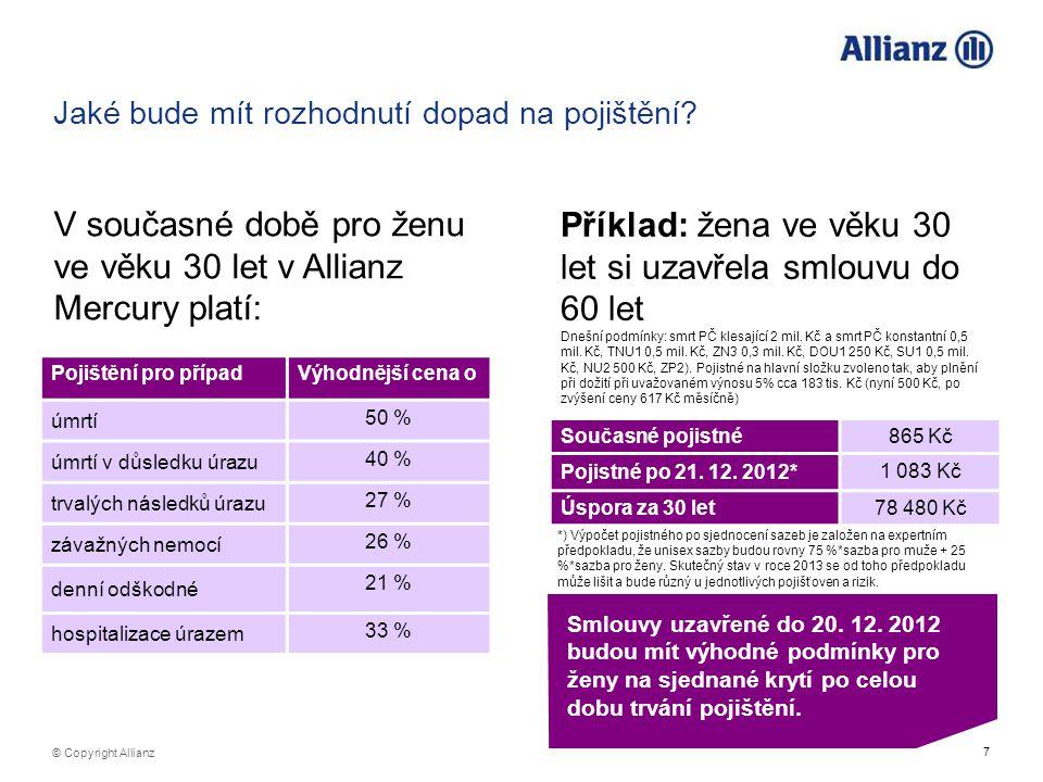 7 © Copyright Allianz Jaké bude mít rozhodnutí dopad na pojištění? Pojištění pro případVýhodnější cena o úmrtí 50 % úmrtí v důsledku úrazu 40 % trvalý