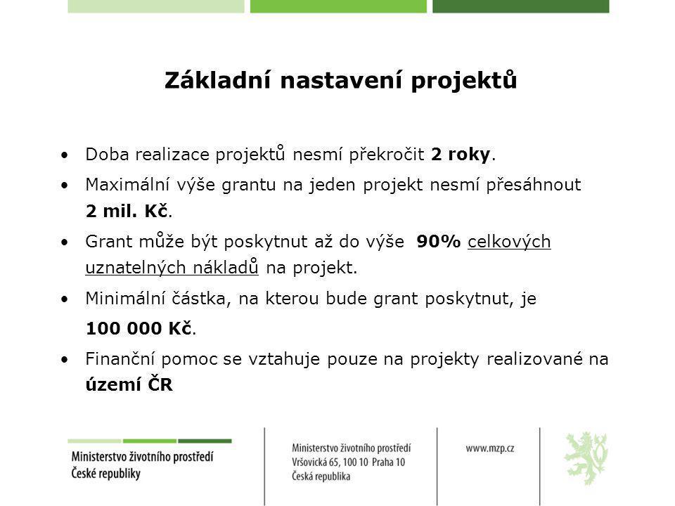 Základní nastavení projektů Doba realizace projektů nesmí překročit 2 roky. Maximální výše grantu na jeden projekt nesmí přesáhnout 2 mil. Kč. Grant m