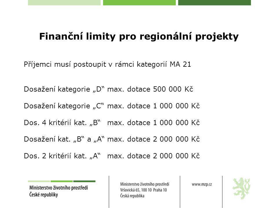 """Finanční limity pro regionální projekty Příjemci musí postoupit v rámci kategorií MA 21 Dosažení kategorie """"D"""" max. dotace 500 000 Kč Dosažení kategor"""