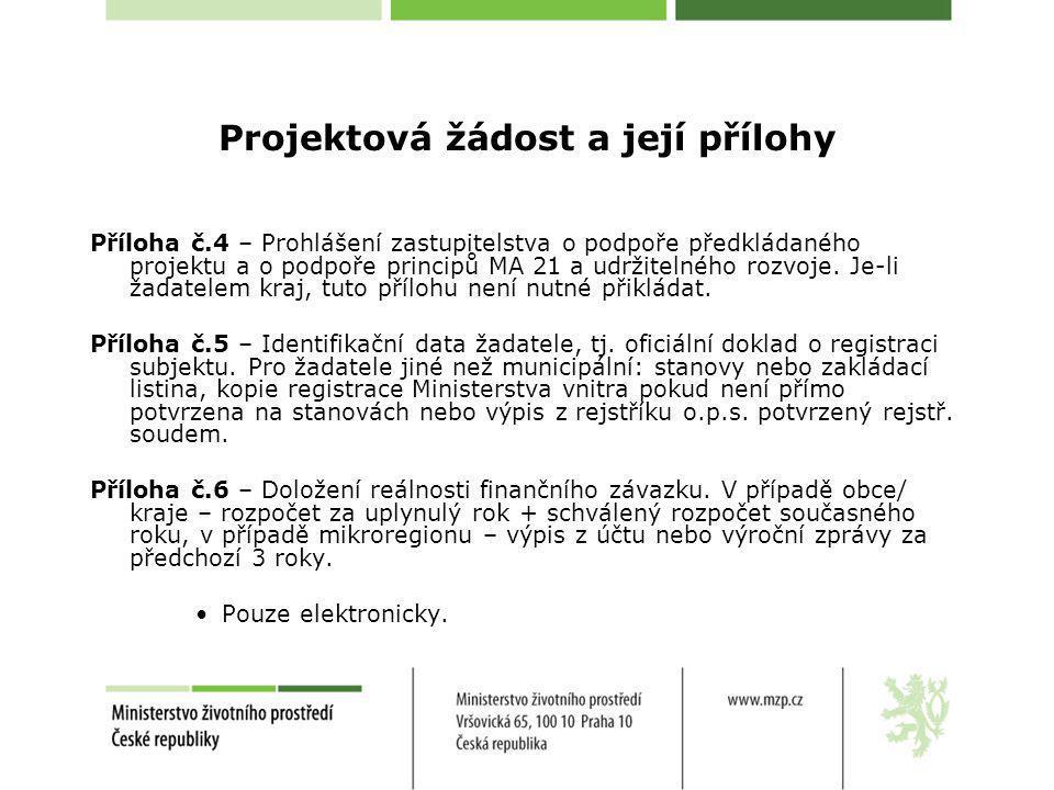 Projektová žádost a její přílohy Příloha č.4 – Prohlášení zastupitelstva o podpoře předkládaného projektu a o podpoře principů MA 21 a udržitelného ro
