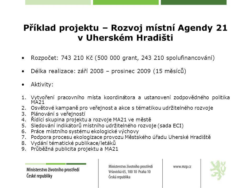 Příklad projektu – Rozvoj místní Agendy 21 v Uherském Hradišti Rozpočet: 743 210 Kč (500 000 grant, 243 210 spolufinancování) Délka realizace: září 20