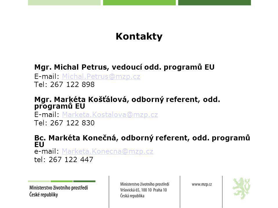 Kontakty Mgr. Michal Petrus, vedoucí odd. programů EU E-mail: Michal.Petrus@mzp.czMichal.Petrus@mzp.cz Tel: 267 122 898 Mgr. Markéta Košťálová, odborn