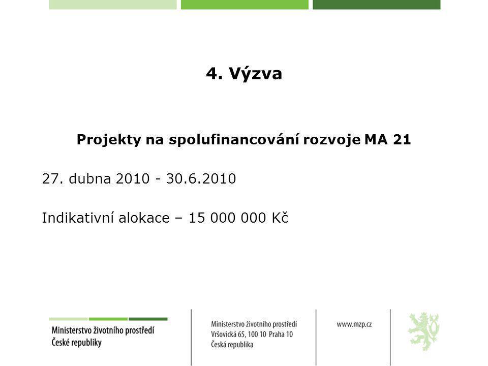 4. Výzva Projekty na spolufinancování rozvoje MA 21 27. dubna 2010 - 30.6.2010 Indikativní alokace – 15 000 000 Kč