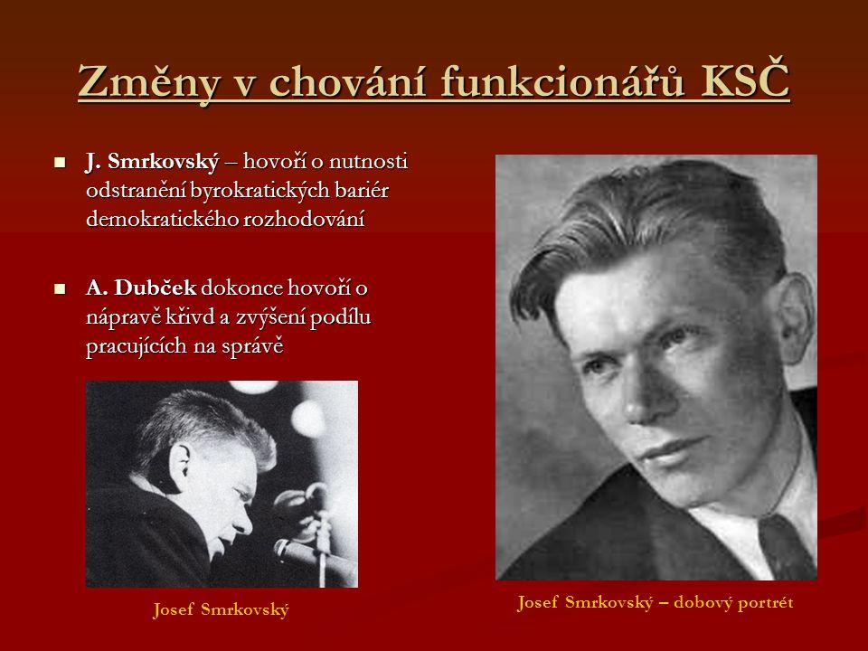 Změny v chování funkcionářů KSČ J. Smrkovský – hovoří o nutnosti odstranění byrokratických bariér demokratického rozhodování J. Smrkovský – hovoří o n