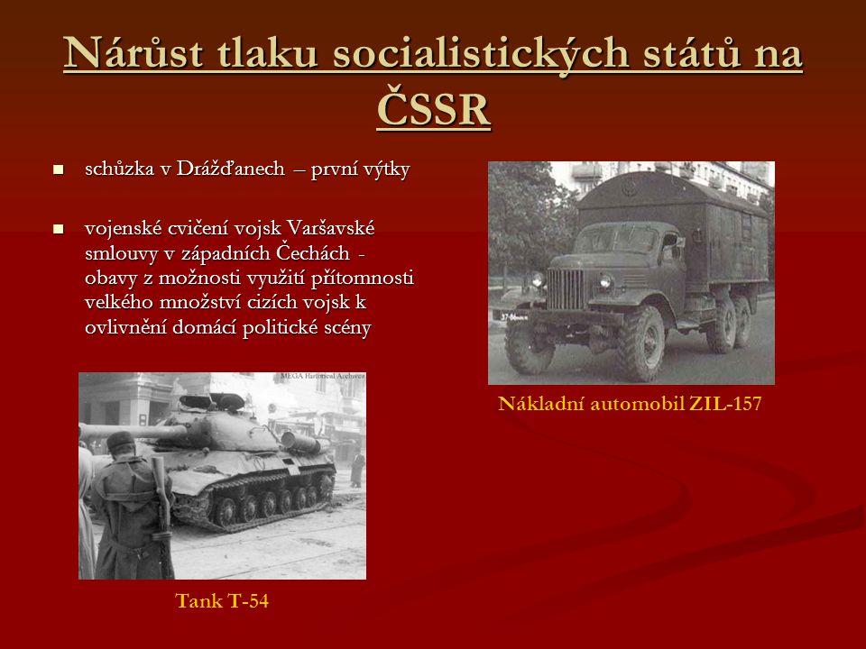 Nárůst tlaku socialistických států na ČSSR schůzka v Drážďanech – první výtky schůzka v Drážďanech – první výtky vojenské cvičení vojsk Varšavské smlo