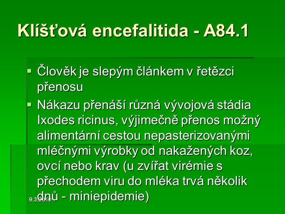 9.3.2010 Klíšťová encefalitida - A84.1  Člověk je slepým článkem v řetězci přenosu  Nákazu přenáší různá vývojová stádia Ixodes ricinus, výjimečně p