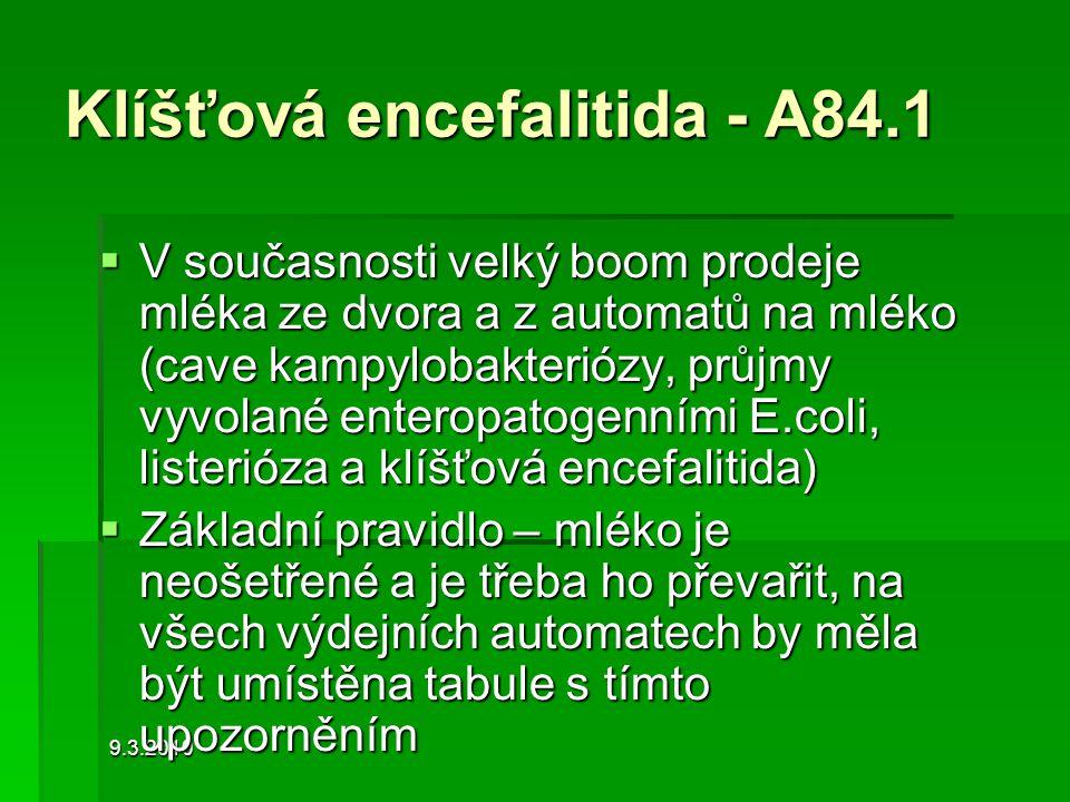 9.3.2010 Klíšťová encefalitida - A84.1  V současnosti velký boom prodeje mléka ze dvora a z automatů na mléko (cave kampylobakteriózy, průjmy vyvolan