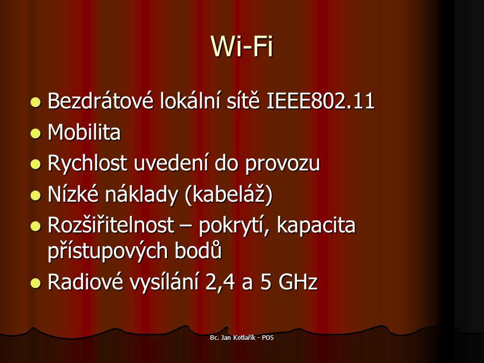 Wi-Fi Bezdrátové lokální sítě IEEE802.11 Bezdrátové lokální sítě IEEE802.11 Mobilita Mobilita Rychlost uvedení do provozu Rychlost uvedení do provozu Nízké náklady (kabeláž) Nízké náklady (kabeláž) Rozšiřitelnost – pokrytí, kapacita přístupových bodů Rozšiřitelnost – pokrytí, kapacita přístupových bodů Radiové vysílání 2,4 a 5 GHz Radiové vysílání 2,4 a 5 GHz