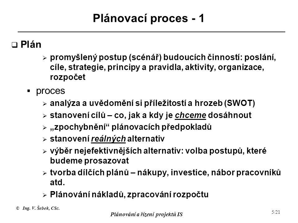 © Ing. V. Šebek, CSc. Plánování a řízení projektů IS 5/21 Plánovací proces - 1  Plán  promyšlený postup (scénář) budoucích činností: poslání, cíle,
