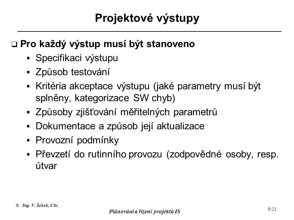 © Ing.V. Šebek, CSc. Plánování a řízení projektů IS 20/21 Plánování nákladů - 2 A.
