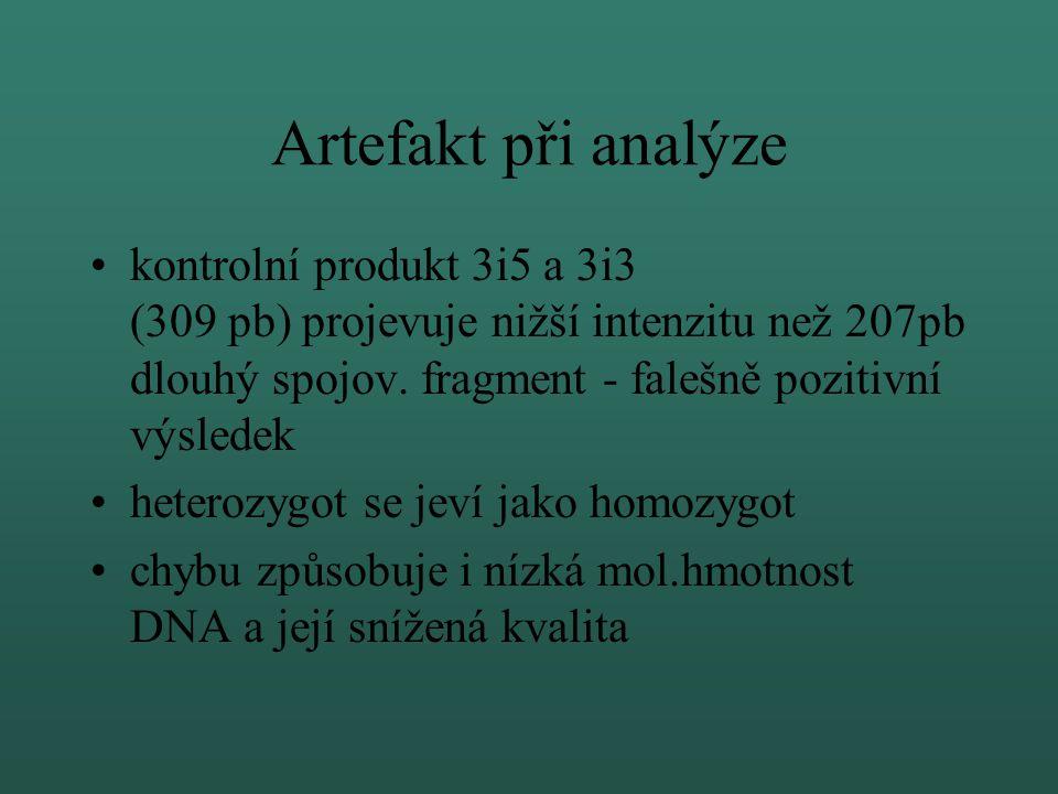 Metoda detekce mut. dele 2,3 (21kb) Duplex PCR metoda PCR I. - primery 2,3R a 2,3F - 207pb PCR II. - kontrolní primery 3i3 a 3i5 - 309pb Duplex PCR an